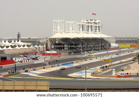 SHAKIR, BAHRAIN - APRIL 20: Formula 1 cars racing during Friday practice session in 2012 Formula 1 Gulf Air Bahrain Grand Prix on April 20, 2012 in Shakir, Bahrain - stock photo