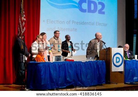 SHAKOPEE, MINNESOTA - APRIL 30, 2016: Candidates from congressional district two for election to various party offices at local democratic party convention in Shakopee on April 30.  - stock photo