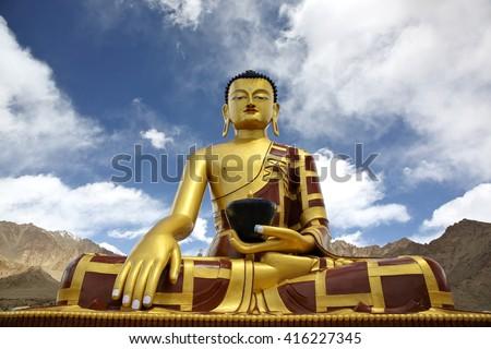 Shakyamuni Buddha (Gautama) statue near Tingmosgang Buddhist Monastery, Ladakh, Jammu & Kashmir, India - stock photo
