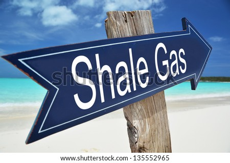 SHALE GAS sign on the beach - stock photo