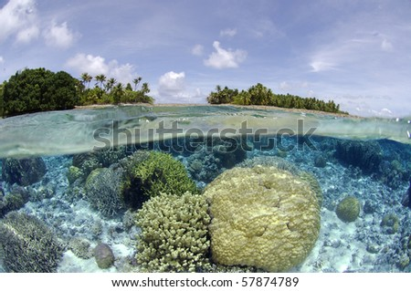 Shallow coral reef at Majuro, Marshall Islands - stock photo