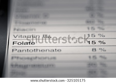 Shallow depth of Field image of Nutrition Facts Folate Information we can find on a grocery Store Product.