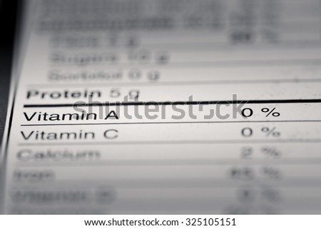 Shallow depth of Field image of Nutrition Facts Vitamin A Information we can find on a grocery Store Product.