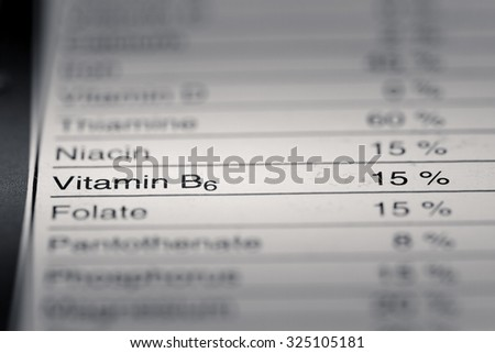 Shallow depth of Field image of Nutrition Facts Vitamin B6 Information we can find on a grocery Store Product.