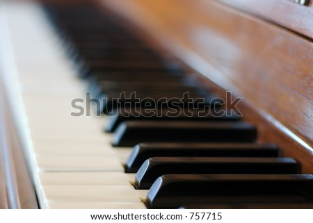 Shallow depth of field shot of a piano keyboard