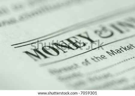 """Shallow depth of field with """"money"""" and paper texture in focus. - stock photo"""