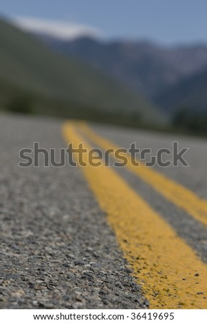 shallow depth vertical street view in Sun Valley, ID - stock photo