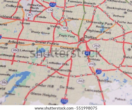 Shallow Dof Dallas On A Map Of Texas Us It Is A Modern Metropolis