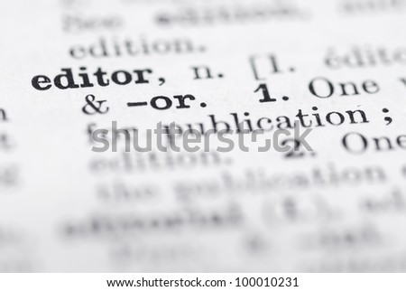 Shallow DOF, focus on Editor in English Dictionary.