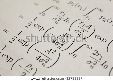 Shallow DOF mathematic equations - stock photo