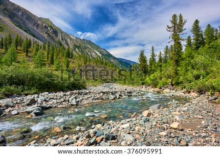 Shallow mountain river in Eastern Siberia . Russia - stock photo
