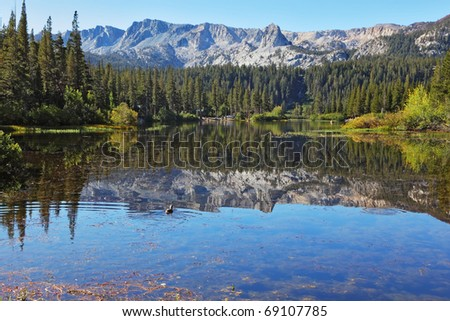 "Shallow quiet ""Mammoth Lake among the mountains and pine forests"