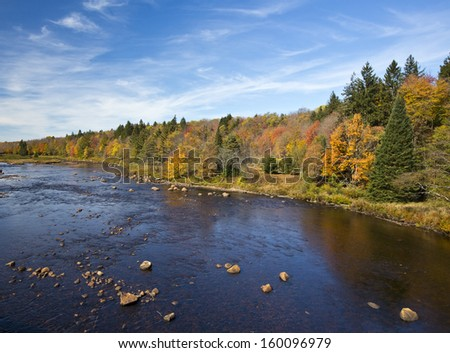 Shallow river with colorful autumn scenery along the shore - stock photo