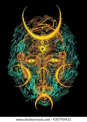 Shaman mask. psychedelic digital illustration. - stock photo