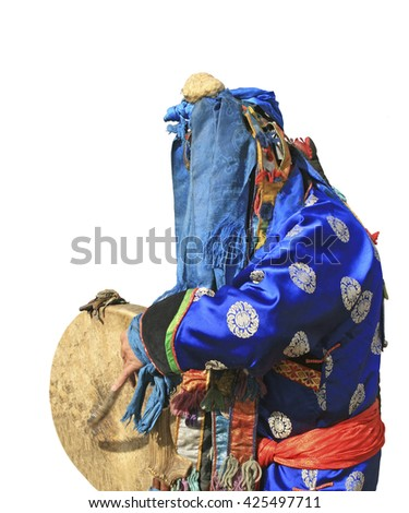 Shaman performs ritual. Isolated - stock photo