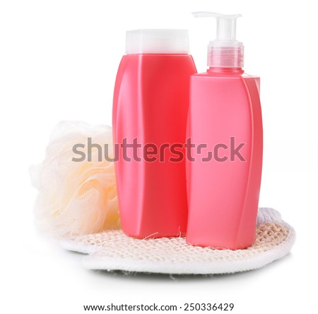 Shampoo and shower gel with wisp isolated on white - stock photo