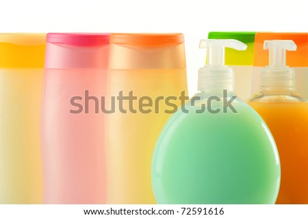 Shampoo and soap. Plastic bottles of body care and beauty products - stock photo