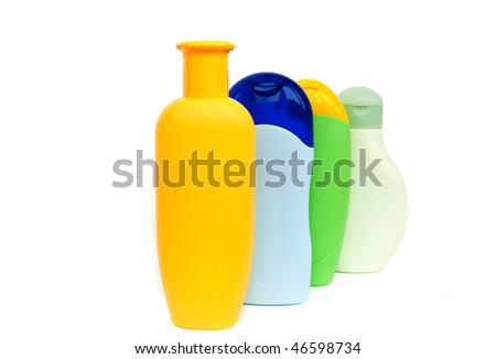 shampoo bottles isolated on white