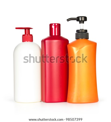 shampoo bottles. Isolated on white background - stock photo