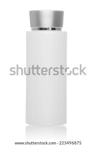 Shampoo, gel or lotion white plastic bottle, isolated on white - stock photo