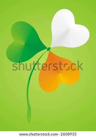 Shamrock clover with colors of the irish flag for St. Patrick´s day