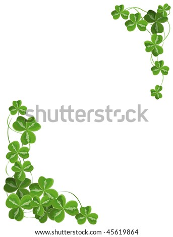 Shamrock corner ornament. Vector version is available. - stock photo
