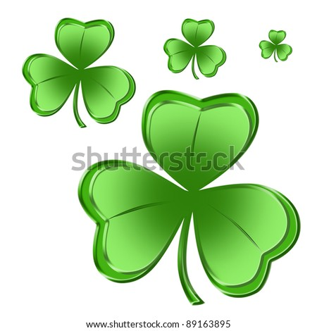Shamrock Four Sizes - stock photo