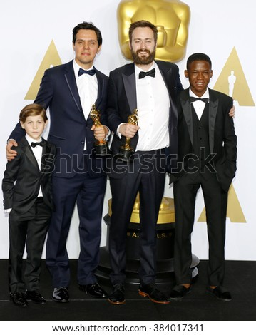 Shan Christopher Ogilvie, Benjamin Cleary, Abraham Atta and Jacob Tremblay at the 88th Annual Academy Awards - Press Room held at the Loews Hollywood Hotel in Hollywood, USA on February 28, 2016. - stock photo