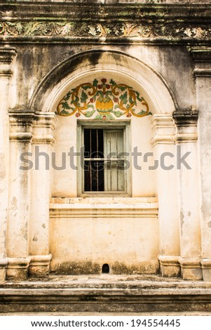 Shan style temple old windows in Wat Papoa , Chiangmai Thailand - stock photo