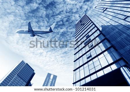 Shanghai aircraft on the sky - stock photo