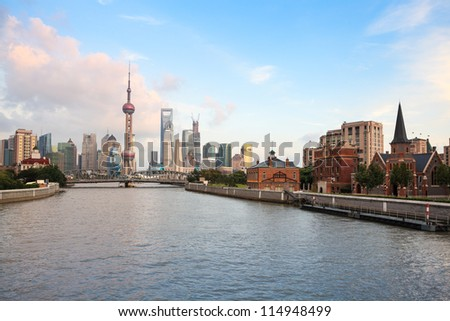 shanghai at dusk,view from suzhou river