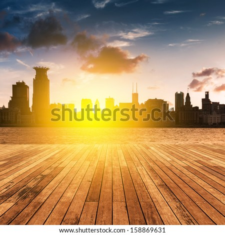 Shanghai Bund at sunset - stock photo