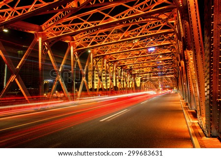 Shanghai bund Bridge at night - stock photo