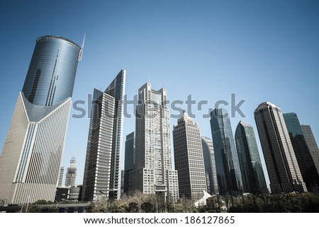 shanghai business background of modern financial center buildings