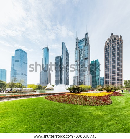 shanghai central greenland with modern buildings in sunshine spring - stock photo