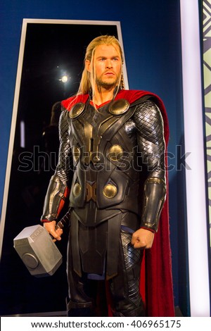 SHANGHAI, CHINA - APR 3, 2016: Chris Hemsworth as Thor at the Shanghai Madame Tussauds wax museum. Marie Tussaud was born as Marie Grosholtz in 1761 - stock photo