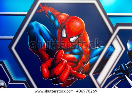 SHANGHAI, CHINA - APR 3, 2016: Spiderman illustration at the Shanghai Madame Tussauds wax museum. Marie Tussaud was born as Marie Grosholtz in 1761