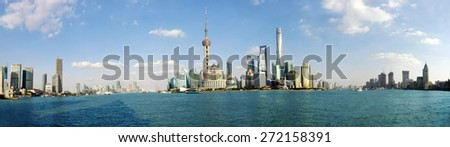 SHANGHAI CHINA - Apr 18: The Shanghai Tower (literally Shanghai Central Tower) is a supertall skyscraper under construction in Lujiazui, Pudong on Apr 18th, 2015. - stock photo