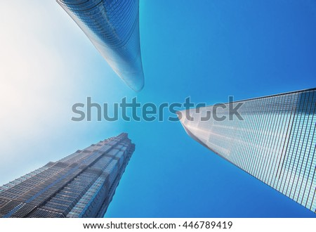 SHANGHAI, CHINA - APRIL 1, 2016: Beautiful skyscrapers, city building of Pudong, Shanghai, China.