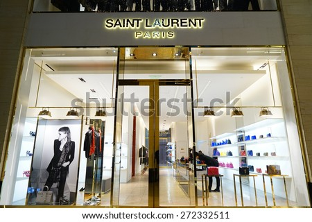 SHANGHAI CHINA - APRIL 22,2015: Detail of Saint Laurent shop in SHANGHAI. is a luxury fashion house founded by Yves Saint Laurent at 1962 in PAris, France. - stock photo