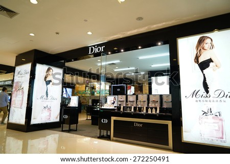 SHANGHAI CHINA - APRIL. 22, 2015: Dior Makeup & Perfume Shop in IFC Mall, IFC mall is one of the prestigious shopping centers in SHANGHAI. - stock photo