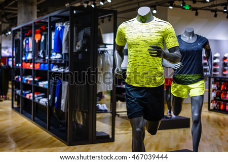 Shanghai China AUG 92016 Nike Store Interior Display Famous Sports Fashion Stock Photo Royalty Free 467039444