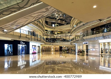 Shanghai, China - August 16, 2011: View of Shanghai IFC Mall interior. IFC, located in Pudong area, is one of the foremost luxury shopping destinations in the world  and offer the best luxury brand. - stock photo