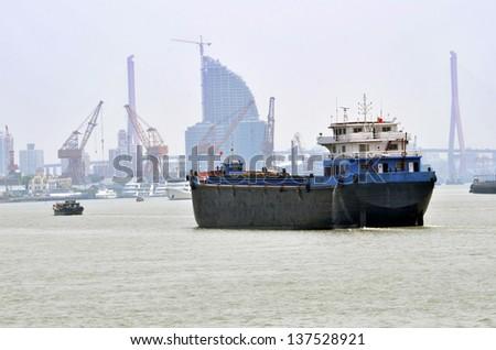SHANGHAI, China - busy day on Huangpu River - stock photo