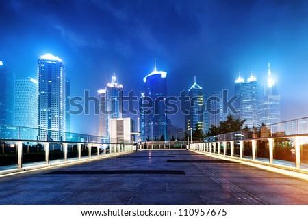 Shanghai, China, city skyscrapers at night. - stock photo