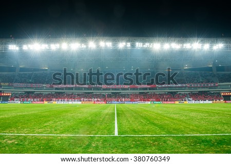 SHANGHAI-CHINA FEBRUARY 09:panoramic views of Shanghai Stadium during The AFC Champions League 2016 Playoff Shanghai SIPG and Muangthong Utd at Shanghai Stadium on Feb 09,2016 in China - stock photo