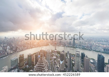 Shanghai, China - Jul 1, 2016: Elevated view of Lujiazui district in Shanghai. Shanghai has been developed specifically as a new financial district of China.