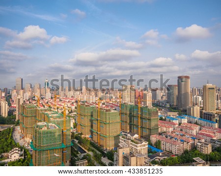 Shanghai, China - June 5, 2016: aerial view of Pudong district, Shanghai, China.
