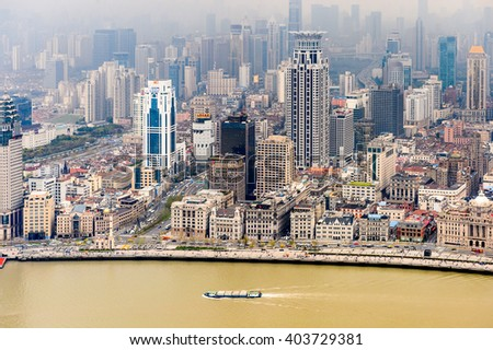 SHANGHAI, CHINA - MAR 31, 2016: View of the Shanghai buildings from the Oriental Pearl Radio and TV Tower.