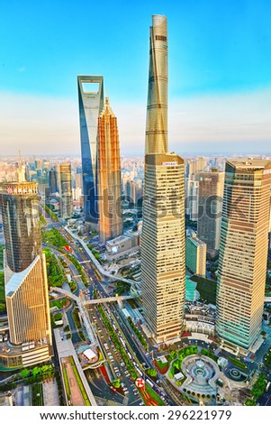 SHANGHAI,CHINA- MAY 24 :Beautiful and office skyscrapers, city building of Pudong, Shanghai, China. Most modern city on continental part of China. - stock photo